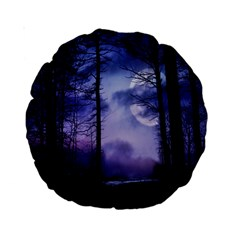 Moonlit A Forest At Night With A Full Moon Standard 15  Premium Round Cushions