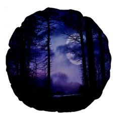 Moonlit A Forest At Night With A Full Moon Large 18  Premium Round Cushions