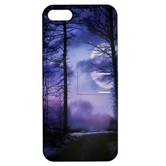 Moonlit A Forest At Night With A Full Moon Apple Iphone 5 Hardshell Case With Stand