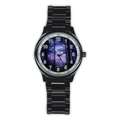 Moonlit A Forest At Night With A Full Moon Stainless Steel Round Watch