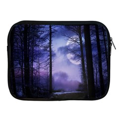 Moonlit A Forest At Night With A Full Moon Apple iPad 2/3/4 Zipper Cases