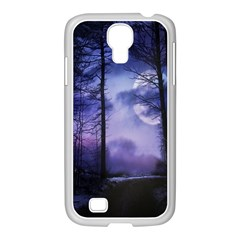 Moonlit A Forest At Night With A Full Moon Samsung GALAXY S4 I9500/ I9505 Case (White)