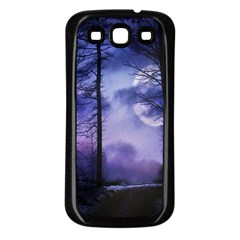 Moonlit A Forest At Night With A Full Moon Samsung Galaxy S3 Back Case (black)