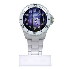 Moonlit A Forest At Night With A Full Moon Plastic Nurses Watch