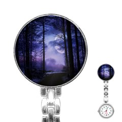Moonlit A Forest At Night With A Full Moon Stainless Steel Nurses Watch