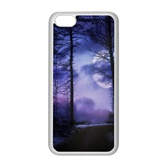 Moonlit A Forest At Night With A Full Moon Apple iPhone 5C Seamless Case (White)