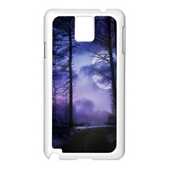 Moonlit A Forest At Night With A Full Moon Samsung Galaxy Note 3 N9005 Case (White)