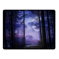 Moonlit A Forest At Night With A Full Moon Double Sided Fleece Blanket (small)