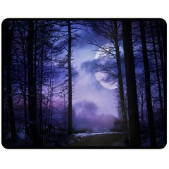 Moonlit A Forest At Night With A Full Moon Double Sided Fleece Blanket (medium)