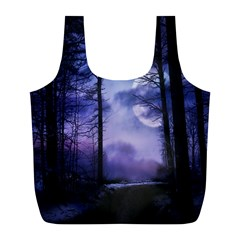 Moonlit A Forest At Night With A Full Moon Full Print Recycle Bags (L)