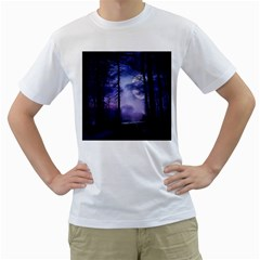 Moonlit A Forest At Night With A Full Moon Men s T-Shirt (White)