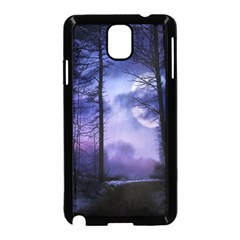 Moonlit A Forest At Night With A Full Moon Samsung Galaxy Note 3 Neo Hardshell Case (Black)