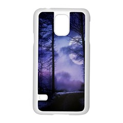 Moonlit A Forest At Night With A Full Moon Samsung Galaxy S5 Case (White)