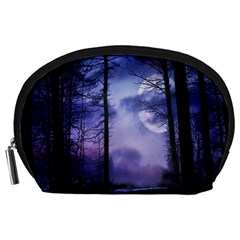 Moonlit A Forest At Night With A Full Moon Accessory Pouches (Large)