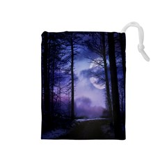 Moonlit A Forest At Night With A Full Moon Drawstring Pouches (Medium)