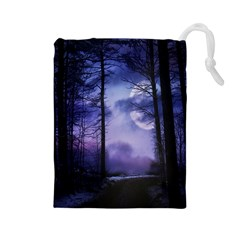 Moonlit A Forest At Night With A Full Moon Drawstring Pouches (Large)