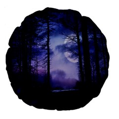 Moonlit A Forest At Night With A Full Moon Large 18  Premium Flano Round Cushions