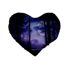 Moonlit A Forest At Night With A Full Moon Standard 16  Premium Flano Heart Shape Cushions