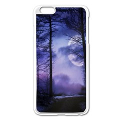 Moonlit A Forest At Night With A Full Moon Apple iPhone 6 Plus/6S Plus Enamel White Case