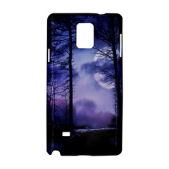 Moonlit A Forest At Night With A Full Moon Samsung Galaxy Note 4 Hardshell Case