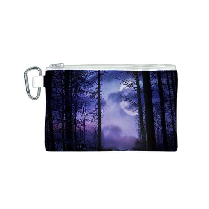 Moonlit A Forest At Night With A Full Moon Canvas Cosmetic Bag (S)