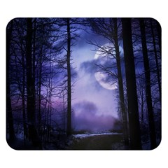 Moonlit A Forest At Night With A Full Moon Double Sided Flano Blanket (Small)