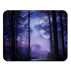 Moonlit A Forest At Night With A Full Moon Double Sided Flano Blanket (Large)