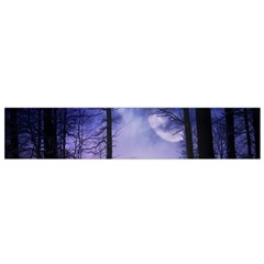 Moonlit A Forest At Night With A Full Moon Flano Scarf (Small)