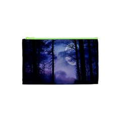 Moonlit A Forest At Night With A Full Moon Cosmetic Bag (xs)
