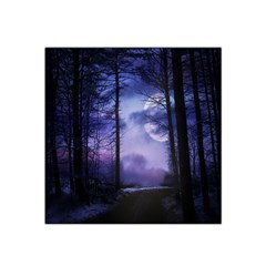 Moonlit A Forest At Night With A Full Moon Satin Bandana Scarf