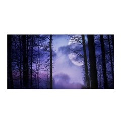 Moonlit A Forest At Night With A Full Moon Satin Wrap
