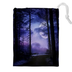 Moonlit A Forest At Night With A Full Moon Drawstring Pouches (xxl)
