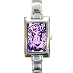 Fractal Wire White Tiger Rectangle Italian Charm Watch