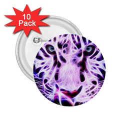 Fractal Wire White Tiger 2 25  Buttons (10 Pack)