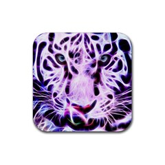 Fractal Wire White Tiger Rubber Square Coaster (4 Pack)