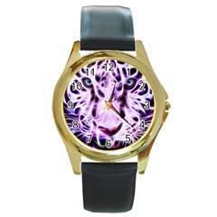 Fractal Wire White Tiger Round Gold Metal Watch