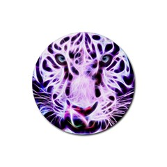 Fractal Wire White Tiger Rubber Coaster (round)
