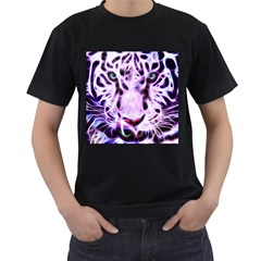 Fractal Wire White Tiger Men s T Shirt (black) (two Sided)