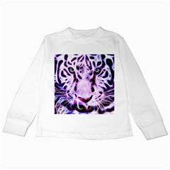 Fractal Wire White Tiger Kids Long Sleeve T Shirts