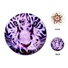 Fractal Wire White Tiger Playing Cards (Round)