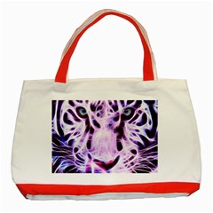 Fractal Wire White Tiger Classic Tote Bag (red)