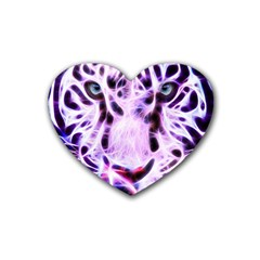 Fractal Wire White Tiger Heart Coaster (4 Pack)