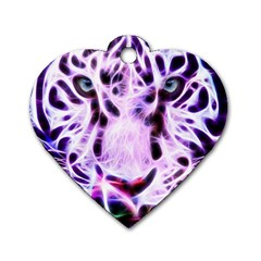 Fractal Wire White Tiger Dog Tag Heart (Two Sides)