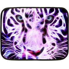 Fractal Wire White Tiger Double Sided Fleece Blanket (mini)