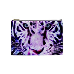 Fractal Wire White Tiger Cosmetic Bag (medium)