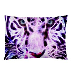 Fractal Wire White Tiger Pillow Case (Two Sides)