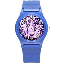 Fractal Wire White Tiger Round Plastic Sport Watch (S)