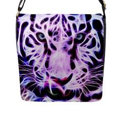 Fractal Wire White Tiger Flap Messenger Bag (l)