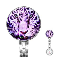 Fractal Wire White Tiger Stainless Steel Nurses Watch