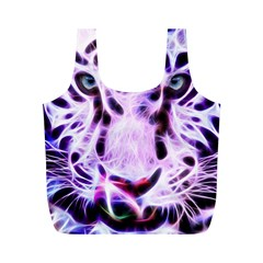 Fractal Wire White Tiger Full Print Recycle Bags (m)